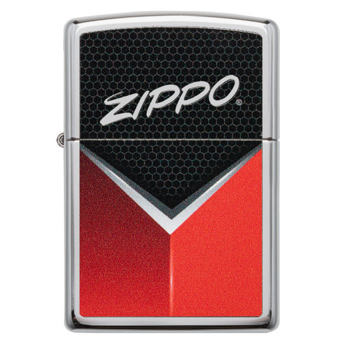 Zippo Red Grey Hexagon Mesh